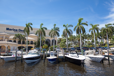 Wide shot of Marina One docks from the water